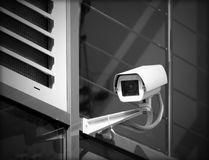 Surveillance camera. Is mounted on a facade Stock Image