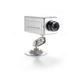 Surveillance Camera. Silver isolated video surveillance camera on white backgraund Stock Image