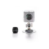 Surveillance Camera. Silver video surveillance camera on white backgraund Stock Photos