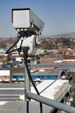 Surveillance Camera. Overhead surveillance Camera from behind royalty free stock photos
