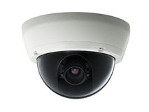Surveillance camera. Isolated on white background, studio shot royalty free stock images