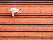 Surveillance camera against wall Royalty Free Stock Photos
