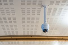 Surveillance camera (CCTV) circle shape hang on ceiling. Surveillance camera (CCTV) circle shape hanging on ceiling stock photos