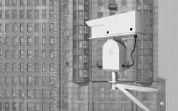Surveillance camera in a city. Computer generated 3D illustration with a surveillance camera in a city Stock Photos