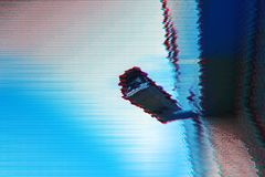 Surveillance camera with digital glitch effect. And blank copy space royalty free stock photos