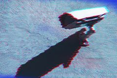Surveillance camera with digital glitch effect. And blank copy space royalty free stock photo