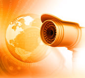 Surveillance camera with digital world Royalty Free Stock Photo