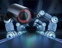 Surveillance camera in factory. 3d rendering security camera or surveillance camera in factory vector illustration
