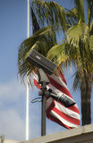 Surveillance camera and flag. A surveillance camera with the american flag in background Royalty Free Stock Photography