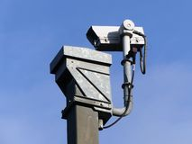Surveillance camera monitoring motorway traffic on the M25. This photo was taken beside M25 motorway near the village of Micklefield Green in Hertfordshire stock photo