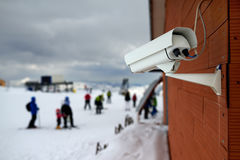 Surveillance camera in mountains ski resort Royalty Free Stock Images