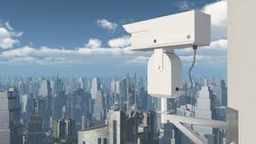 Surveillance camera over a city Royalty Free Stock Photos