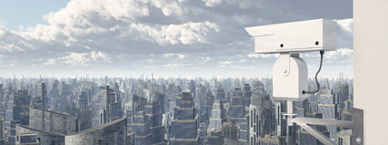 Surveillance camera over a city Royalty Free Stock Image