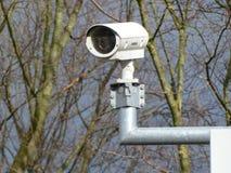 Surveillance camera on pole. stock photo