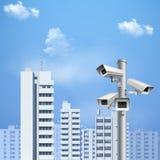 Surveillance Camera Realistic Background vector illustration