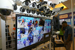 Surveillance camera. Various surveillance cameras sold in an exhibition at the convention hall in the city of Solo, Central Java, Indonesia Stock Photography
