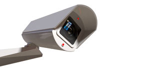 Surveillance Camera On White Stock Image