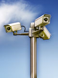 Surveillance cameras. Three surveillance cams on a metal pole. Digital illustration royalty free illustration