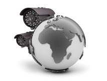 Surveillance cameras and earth globe on white background Stock Photos