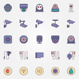 Surveillance cameras icon set Stock Image