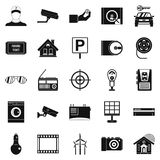 Surveillance cameras icons set, simple style Stock Photo
