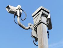 Surveillance cameras monitoring motorway traffic on the M25 in Hertfordshire royalty free stock images