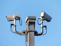 Surveillance cameras monitoring motorway traffic on the M25 stock images