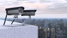 Surveillance cameras over a city Stock Photos
