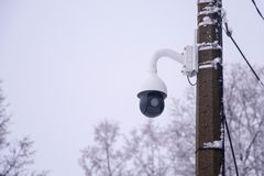 Surveillance cameras on the pole close-up. royalty free stock photo