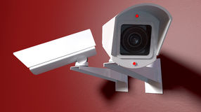 Surveillance Cameras On Red Royalty Free Stock Photography