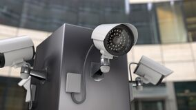 The surveillance CCTV cameras monitoring entrances to the building, 3d animation