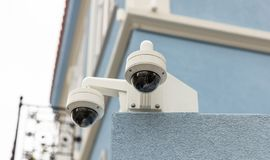 Surveillance CCTV Security Cameras on the roof, closeup view stock images