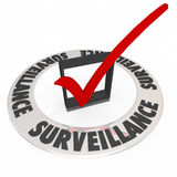 Surveillance Check Box Ring Words Security Safety Stock Image