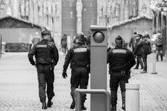Surveillance de centre de la ville de Strasbourg après attaque terroriste photographie stock libre de droits