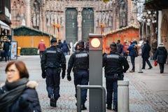 Surveillance de centre de la ville de Strasbourg après attaque terroriste image stock
