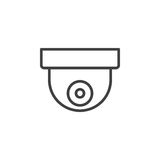 Surveillance dome camera line icon, outline vector sign, linear style pictogram isolated on white Stock Photos