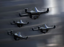 Surveillance drones fleet flying in the sky Royalty Free Stock Photography