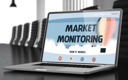 Surveillance du marché sur l'ordinateur portable dans la salle de conférences 3d Photographie stock libre de droits