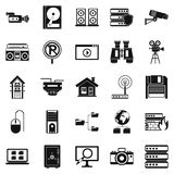 Surveillance icons set, simple style Royalty Free Stock Photo
