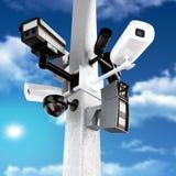 Surveillance mega camera's Stock Photos