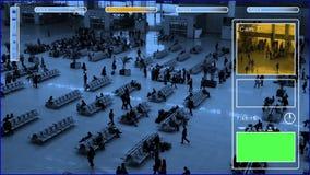 Surveillance. Monitor in train station