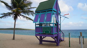 Since Surveillance and palm on the beach in Sun Ba. Y in Vieques (Puerto Rico stock photo