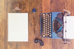 Surveillance. Reporters Typewriter and Tools. Top View Royalty Free Stock Photo