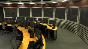 Surveillance room. 3D render of a surveillance room stock photos