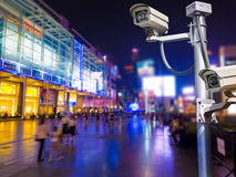Surveillance Security Camera or CCTV in shopping mall Royalty Free Stock Photo