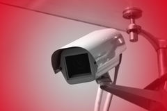 Surveillance, security camera, monitoring, CCTV. Security camera installed on a building Royalty Free Stock Photography