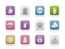 Surveillance and Security Icons Stock Image