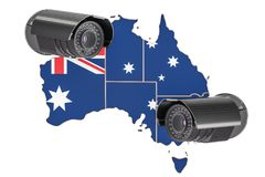 Surveillance and security system concept in Australia. 3D render. Ing isolated on white background Royalty Free Stock Images