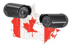 Surveillance and security system concept in Canada. 3D rendering. Isolated on white background Stock Photography