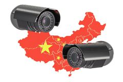Surveillance and security system concept in China. 3D rendering Royalty Free Stock Photos